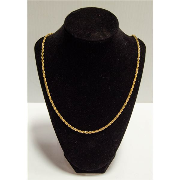 LONG GOLD PLATED ROPE CHAIN NECKLACE