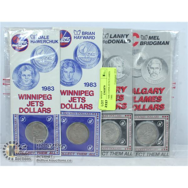 4 X 1980'S NHL COINS JETS FLAMES COLLECTORS