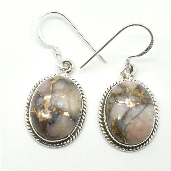 51TJ SILVER PINK MUHAVE TURQUOISE EARRINGS