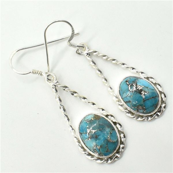 54TJ SILVER MUHAVE TURQUOISE EARRINGS
