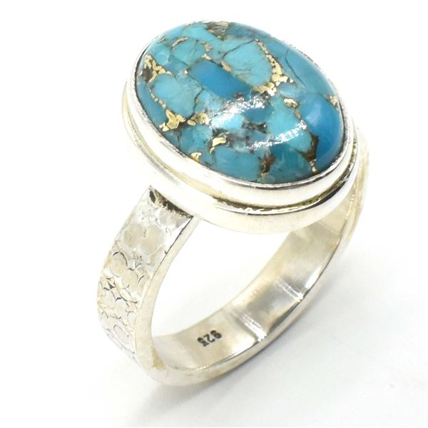 61TJ SILVER BLUE COPPER TURQUOISE RING