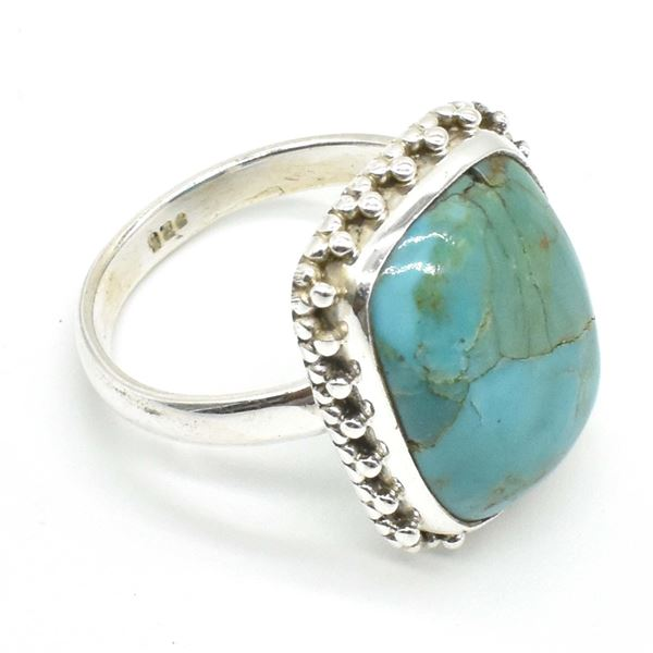 63TJ SILVER MUHAVE TURQUOISE RING