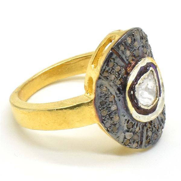 74TJ SILVER CIRTIFIED ROSE CUT DIAMOND RING