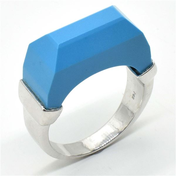 76TJ SILVER TURQUOISE MEN MADE RING