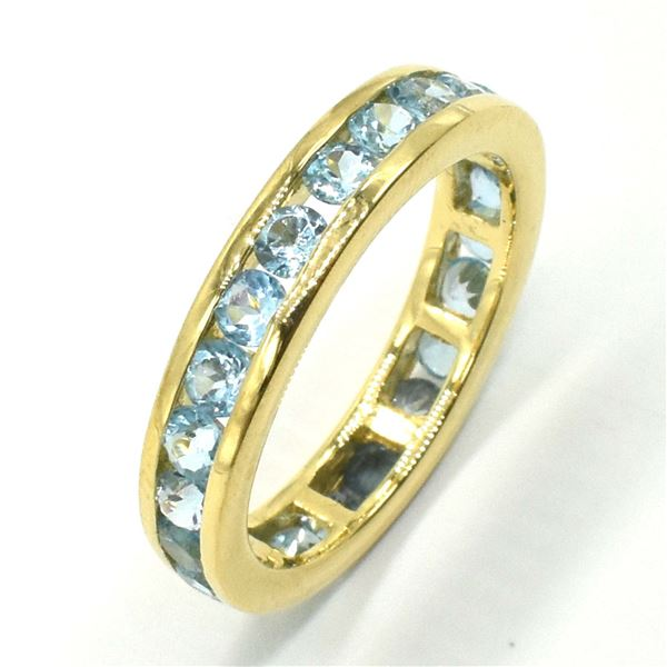 86TJ GOLD PLATED SIL BLUE TOPAZ RING