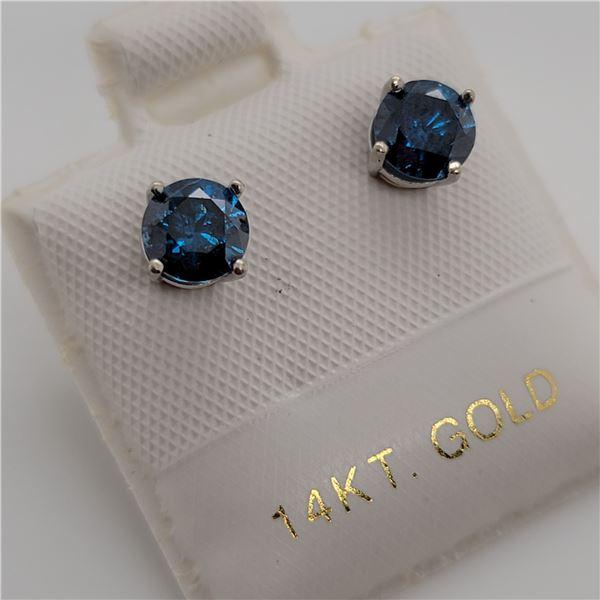 BZ337-9 14K  TREATED BLUE DIAMOND (0.8CT,I1-2) EAR