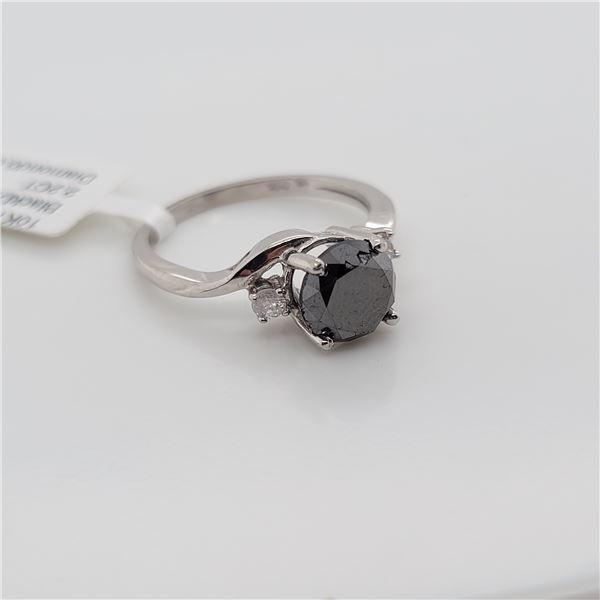 BZ337-10 10K  BLACK DIAMOND WHITE DIAMOND RING