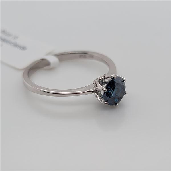 BZ337-21 14K  TREATED BLUE DIAMOND  RING
