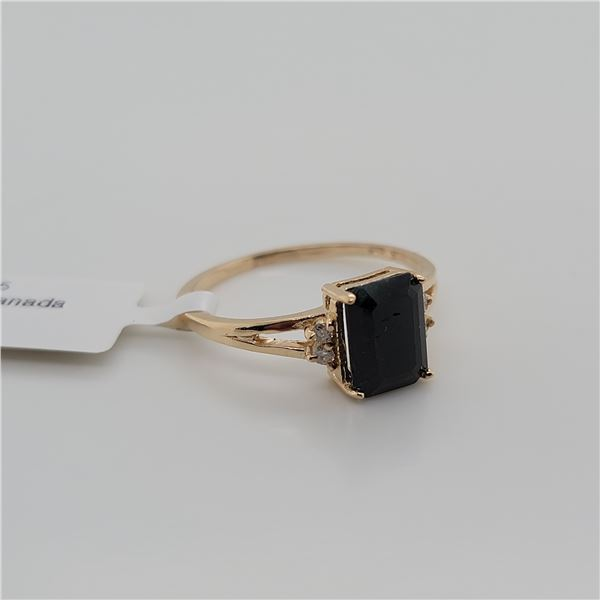 BZ337-26 10K  ENHANCE BLUE SAPPHIRE DIAMOND RING