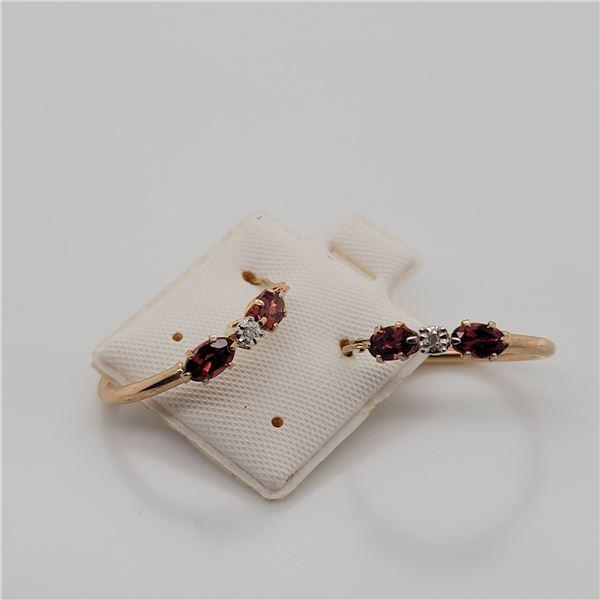 BZ337-39 9K  GARNET DIAMOND EARRINGS