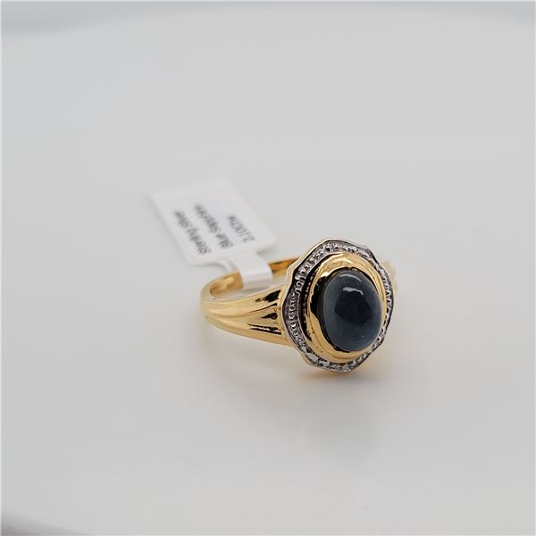 BZ337-40 SILVER SAPPHIRE RING