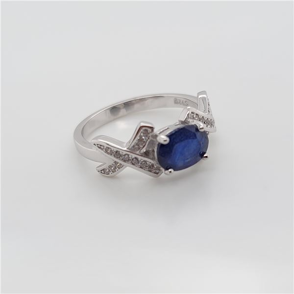 BZ337-43 SILVER SAPPHIRE RING