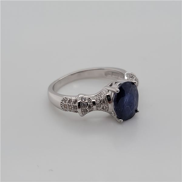 BZ337-45 SILVER SAPPHIRE RING