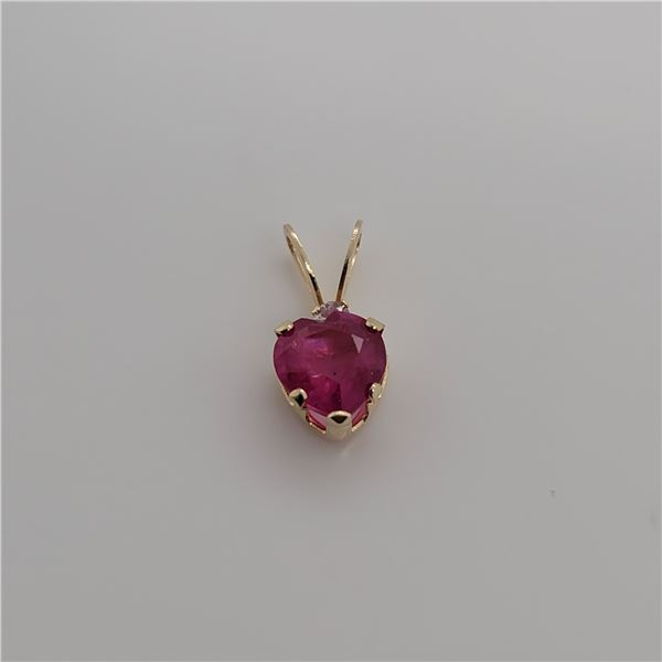 BZ337-49 14K  RUBY DIAMOND PENDANT