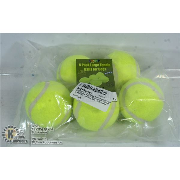 LOT OF 5 TENNIS BALLS FOR DOGS.