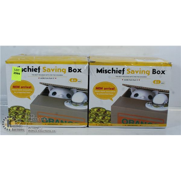 LOT ODF TWO MISCHIEF SAVING BOXES.
