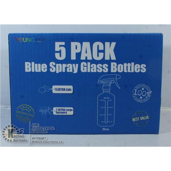 5 PACK BLUE SPRAY GLASS BOTTLES.