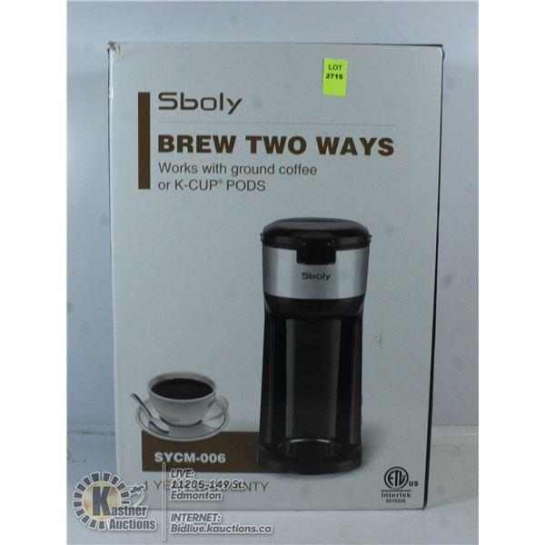 SBOLY BREW TWO WAYS COFFEE MAKER WORKS WITH K-CUPS
