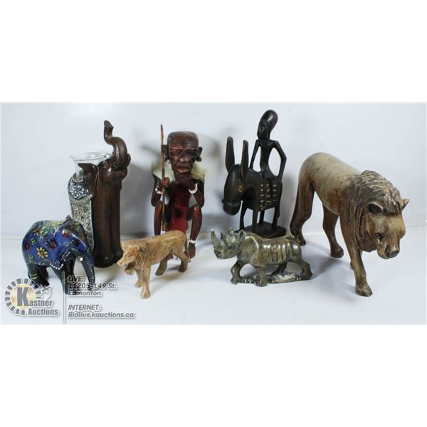 FLAT OF ASSORTED WOOD CARVINGS.