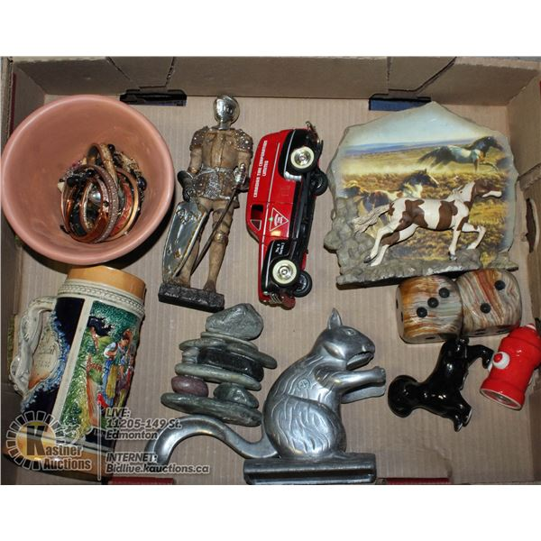 LOT OF MISC INCLUDING STEIN, JEWELLERY AND DECOR.