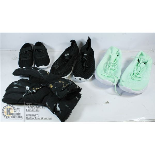 FLAT OF ASSORTED SIZED SHOES AND 1 PAIR OF GLOVES