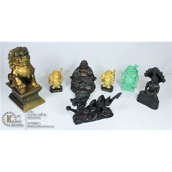 FLAT OF ASSORTED BHUDIST AND CHINESE STATUES.