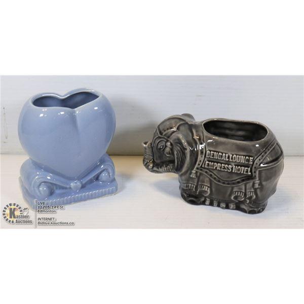 2 VINTAGE FLORAL VASES, BLUE HEART AND ELEPHANT