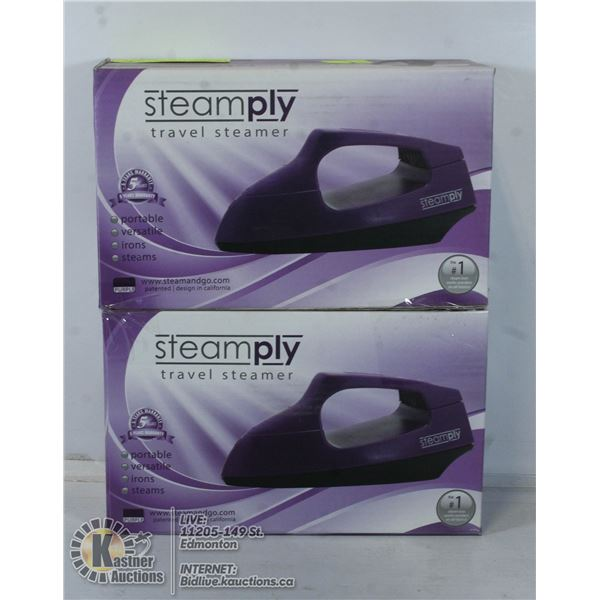 2 NEW PURPLE STEAMPLY TRAVEL STEAMERS