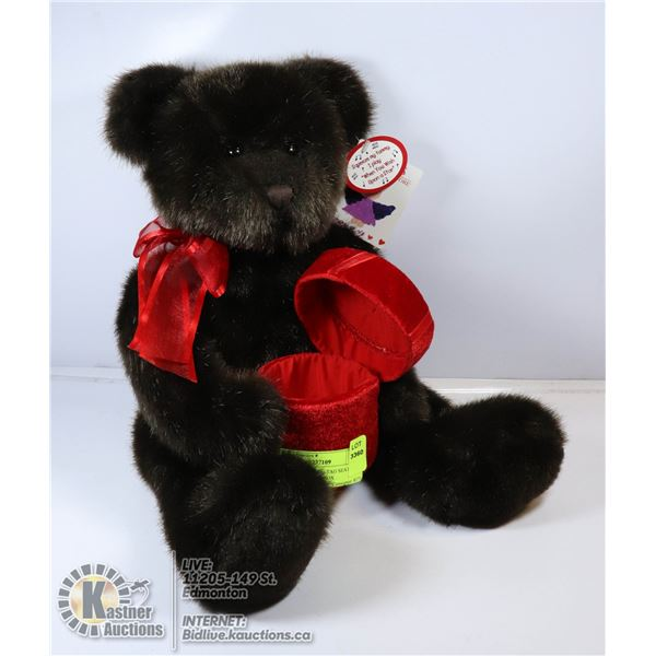 STUFFED TOY WITH TAG SEATING BEAR WITH A GIFT BOX