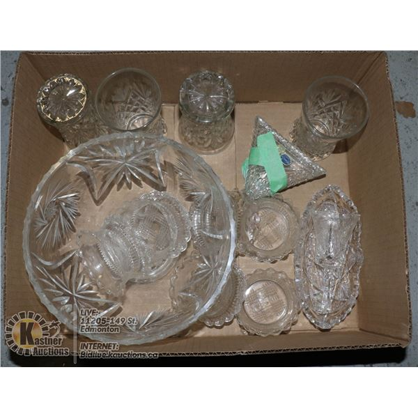 CRYSTAL- ASSORTED BOX LOT OF 13 PIECES