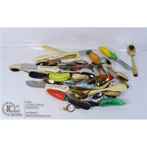 LOT OF COLLECTABLE SPOONS AND KNIVES