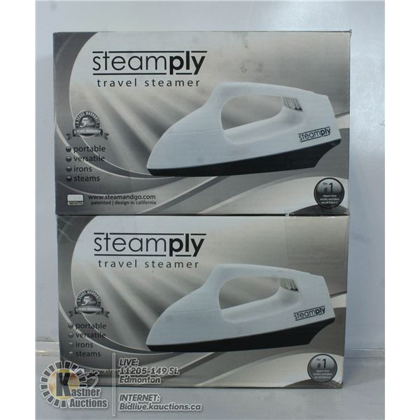 2 NEW  WHITE STEAMPLY TRAVEL STEAMERS