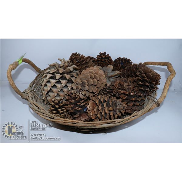 ANTIQUE WOVEN TWIG BASKET FILLED WITH LARGE