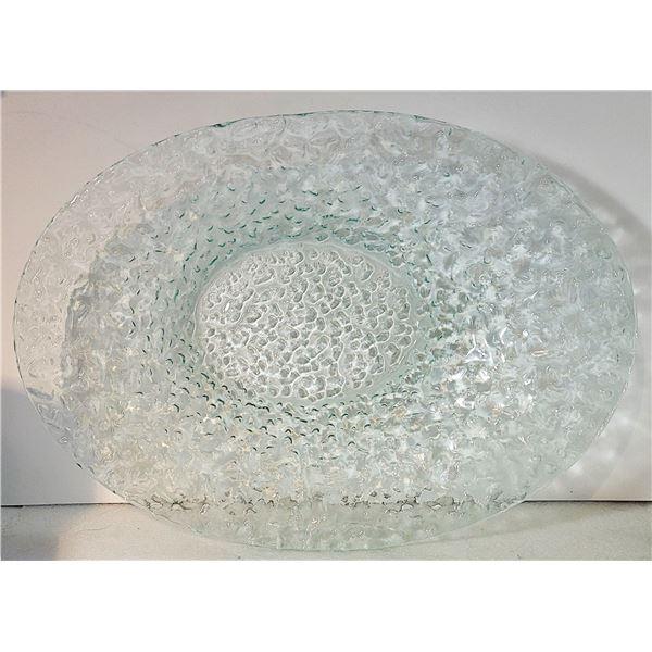 23)  GREEN CAST COLORED BUBBLE GLASS