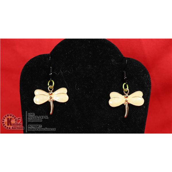 PEACH COLORED DRAGONFLY EARRINGS