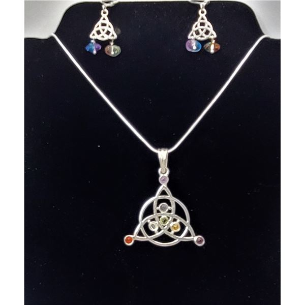 3)  SILVER TONE CELTIC KNOT PENDANT WITH