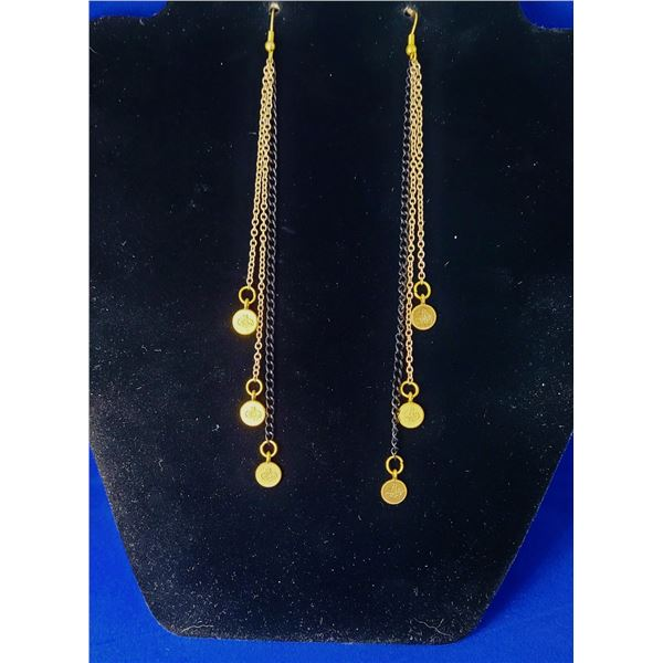 8)  GOLD TONE WITH BLACK CHAIN SHOULDER