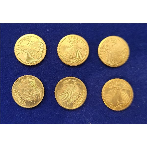 2)  LOT OF 6 24 KT GOLD PLATED US MINI