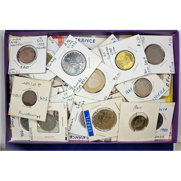 13)  LOT OF 41 WORLD COINS INCLUDING: