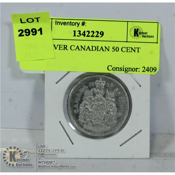 1963 SILVER CANADIAN 50 CENT PIECE