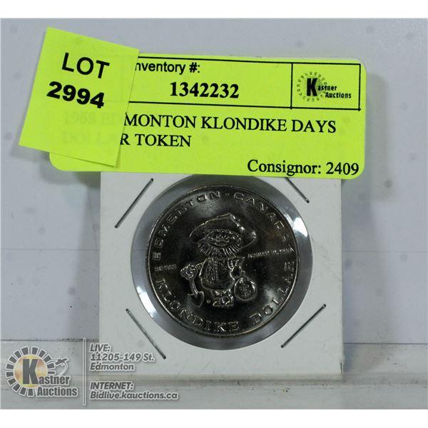 1968 EDMONTON KLONDIKE DAYS DOLLAR TOKEN