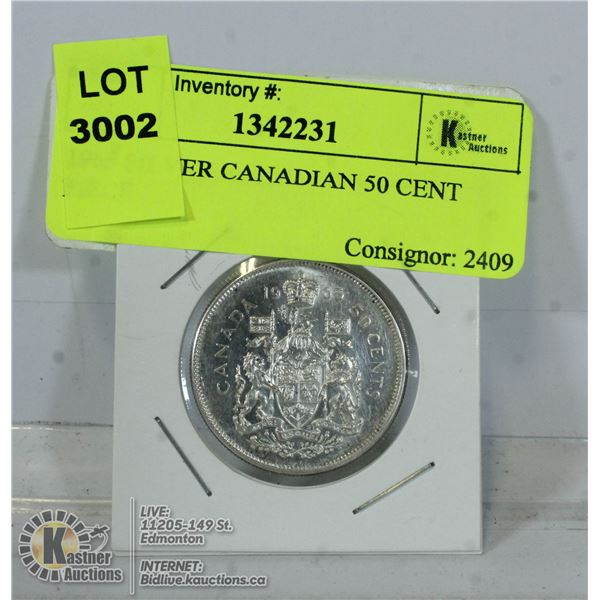 1965 SILVER CANADIAN 50 CENT PIECE