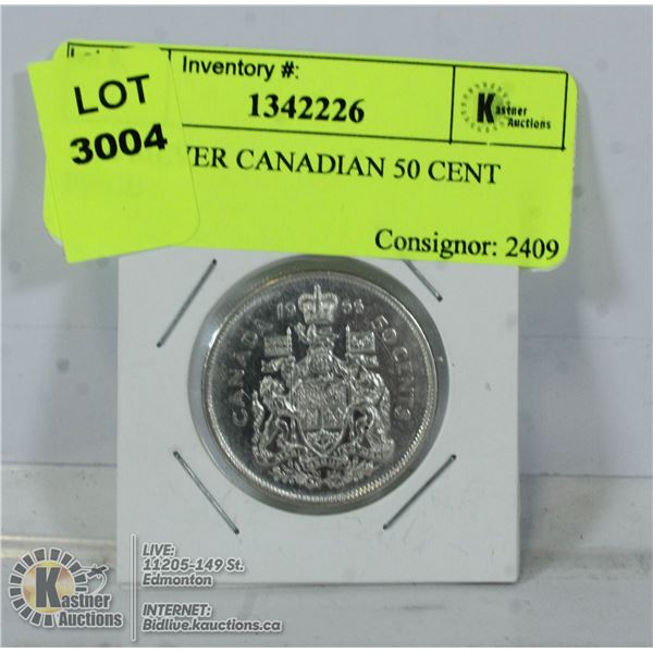 1966 SILVER CANADIAN 50 CENT PIECE
