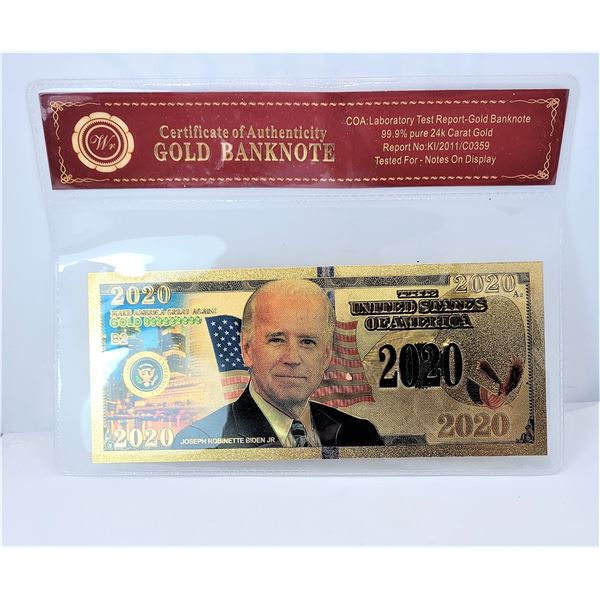 8) COLORIZED GOLD FOIL  JOE BIDEN 2020 US