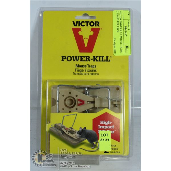VICTOR POWER KILL MOUSE TRAPS - 2 TRAPS PER PACK