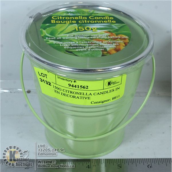 NEW 150G CITRONELLA CANDLES IN A GREEN DECORATIVE