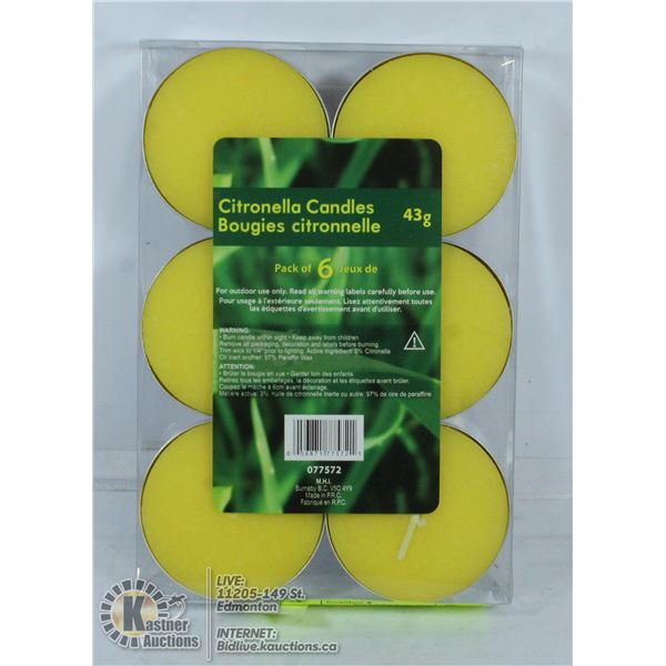 6 PACK OF 43G CITRONELLA CANDLES