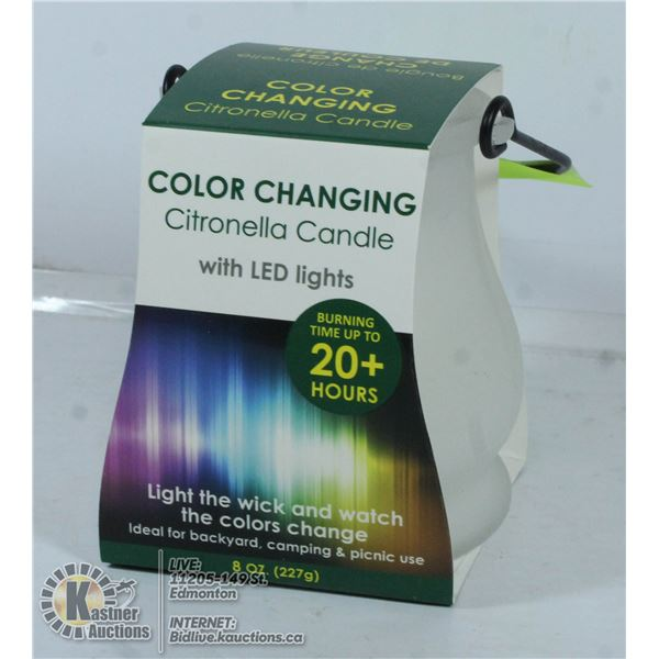 NEW CITRONELLA 20H CANDLE WITH LED LIGHTS