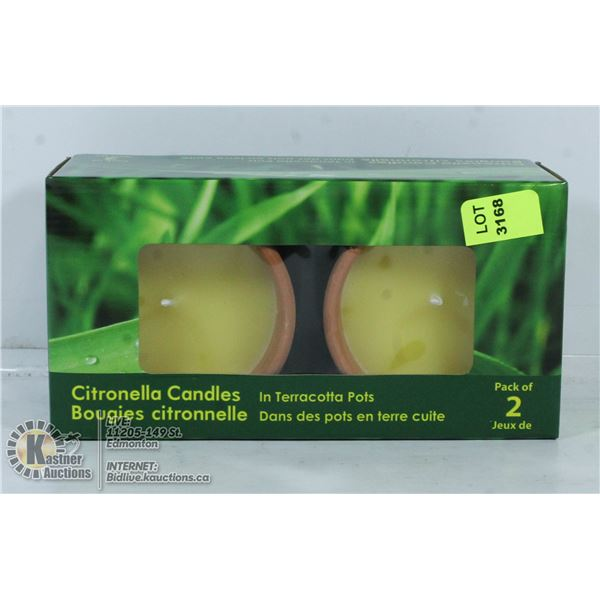 2 NEW CITRONELLA CANDLES IN TERRACOTTA  POTS