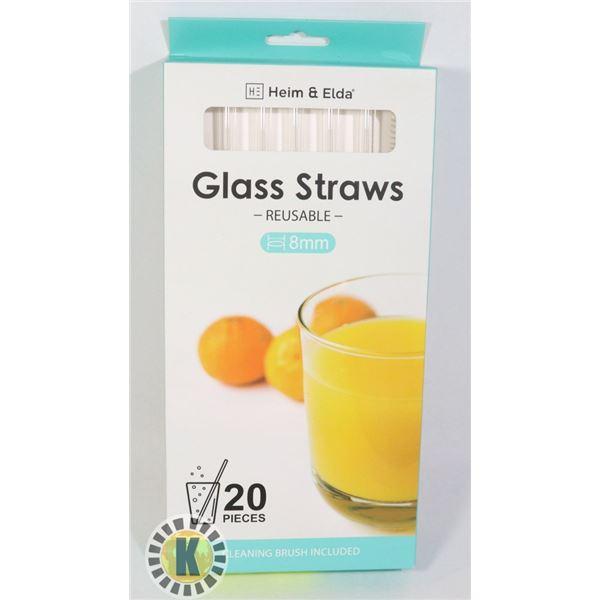NEW 20PC 8MM GLAS STRAW SET
